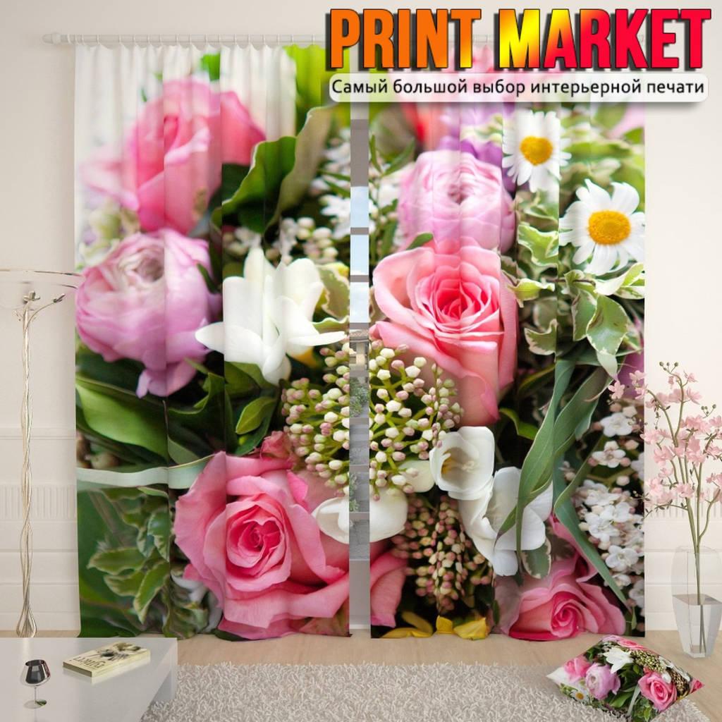 Фотошторы букет с розовыми розами