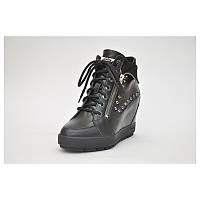 Женские зимние кожаные чёрные стильные сникерсы ботинки на танкетке 40