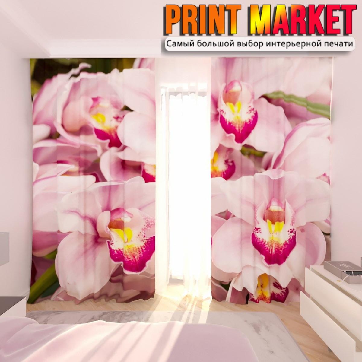 Фотошторы букет из орхидеи