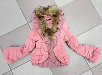 Куртка деми на девочку с натуральным мехом лисы