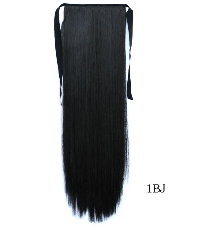 Накладной хвост с термо волос цвет чёрный 60 см на тканевых лентах