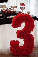 Объёмная цифра  3 (красная)
