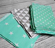 Набор лоскутов тканей с геометрическим рисунком серого и мятного цвета, №46