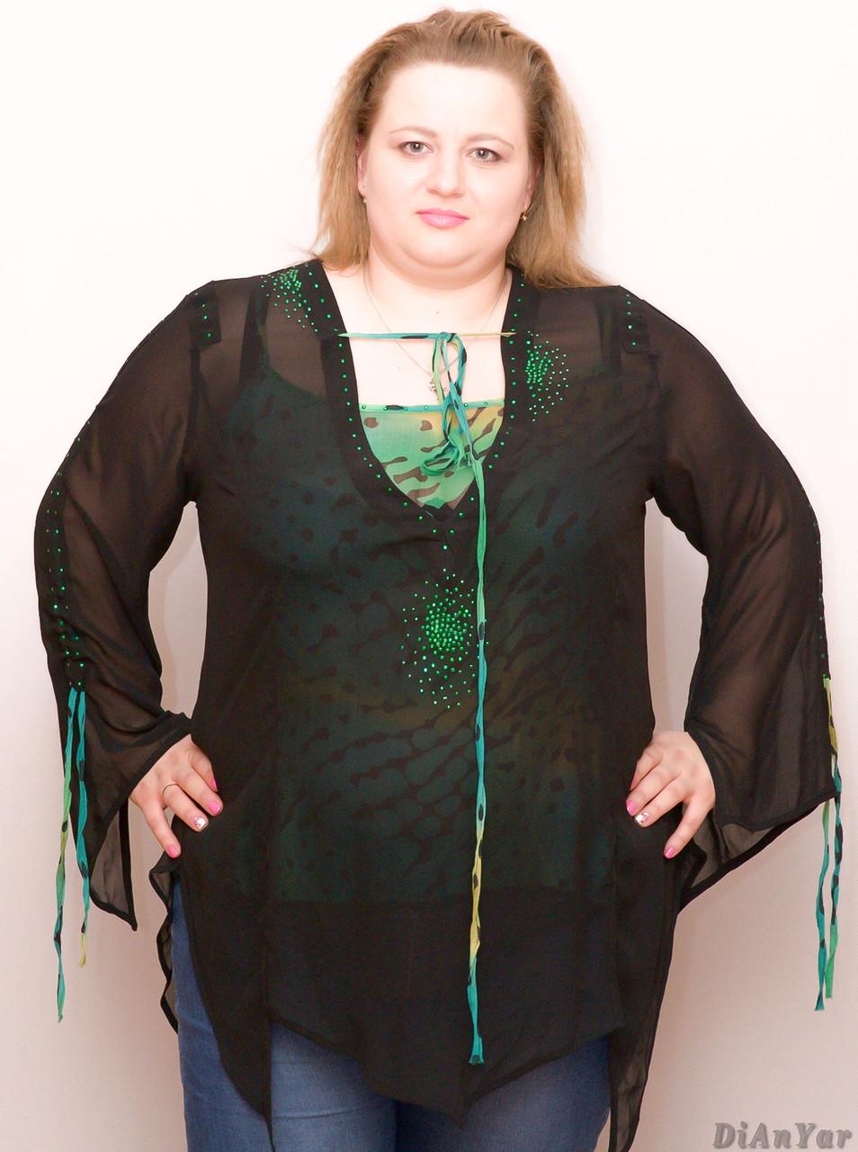 Блуза женская большого размера шифоновоя с маечкой NATALI