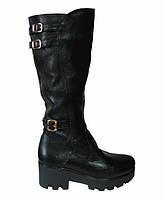 Сапоги кожаные на платформе  черная кожа флотар