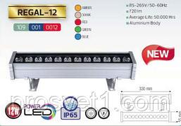 Линейный прожектор 12W  POVER LED  IP65 (янт,3000К,крас,зел,син)