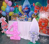 Объёмная цифра  4 (нежно розовая)