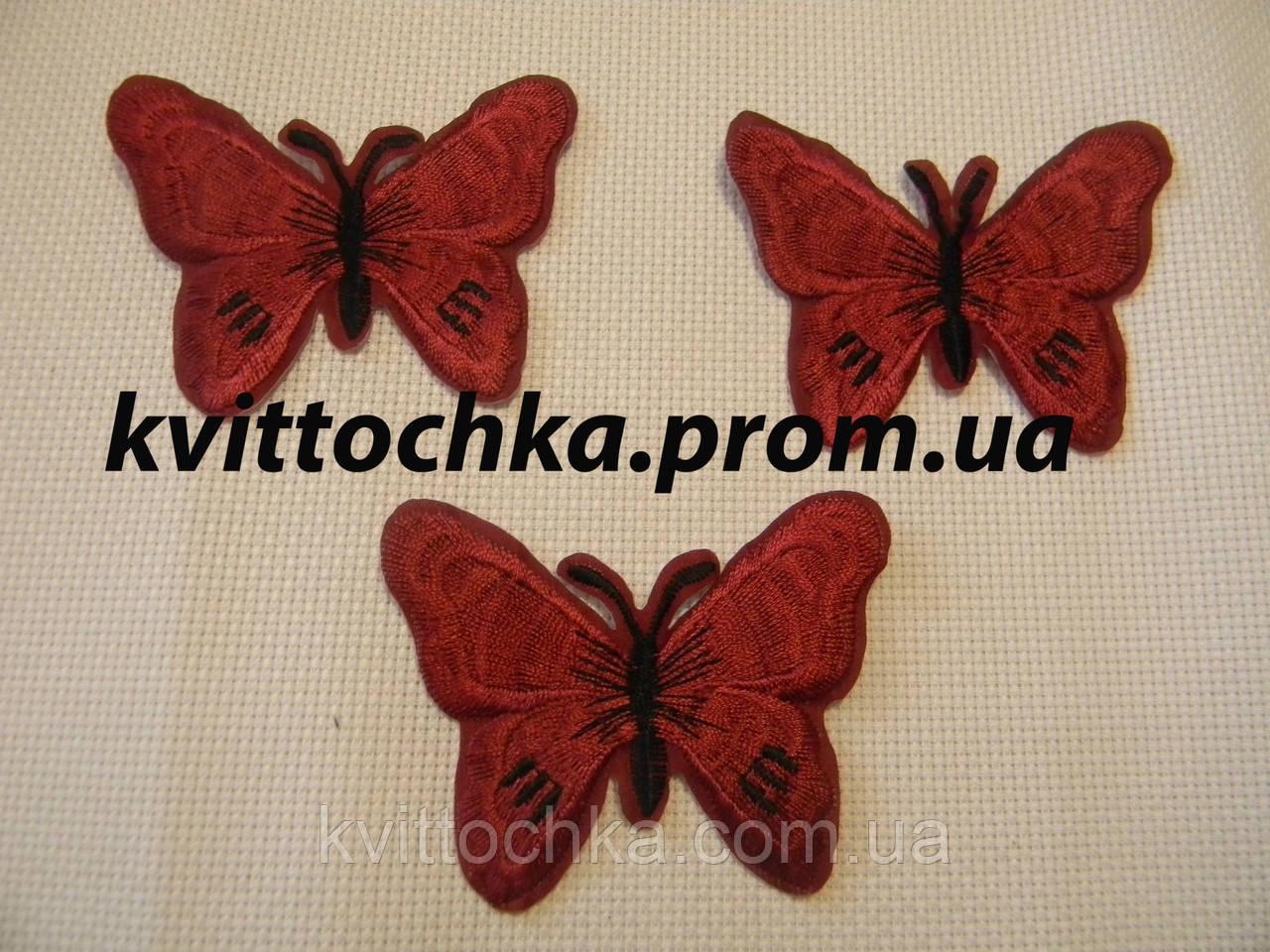 "Нашивка клеевая ""Бабочка"" бордовая,микс, цена за 6 шт"