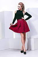 Стильная женская юбка в складочку,ткань габардин, цвет персиковый,электрик,марсала