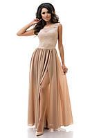 Платье женское нарядное 7183  гипюр и шифон в пол