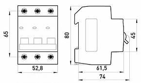 Модульный автоматический выключатель e.mcb.stand.45.3.C20, 3р, 20А, C, 4.5 кА, фото 2