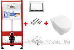 Комплект унитаз подвесной 5688Н101 O.Novo+ сиденье Soft close + Инсталяция 4 в 1 ТЕСЕ 9400006