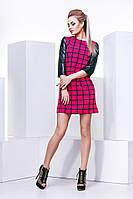 Красивое женское платье в клеточку,рукав эко кожа,ткань креп костюмка принт.эко кожа,цвет электрик,коралл