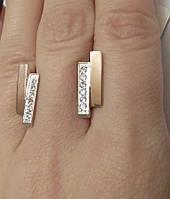Серебряные серьги с золотом и цирконием Мариот, фото 1