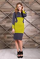 Деловое Платье Миди с Ярким Орнаментом Оливковое XS-XL