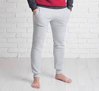 Мужские спортивные брюки на манжете 9122 светло-серые