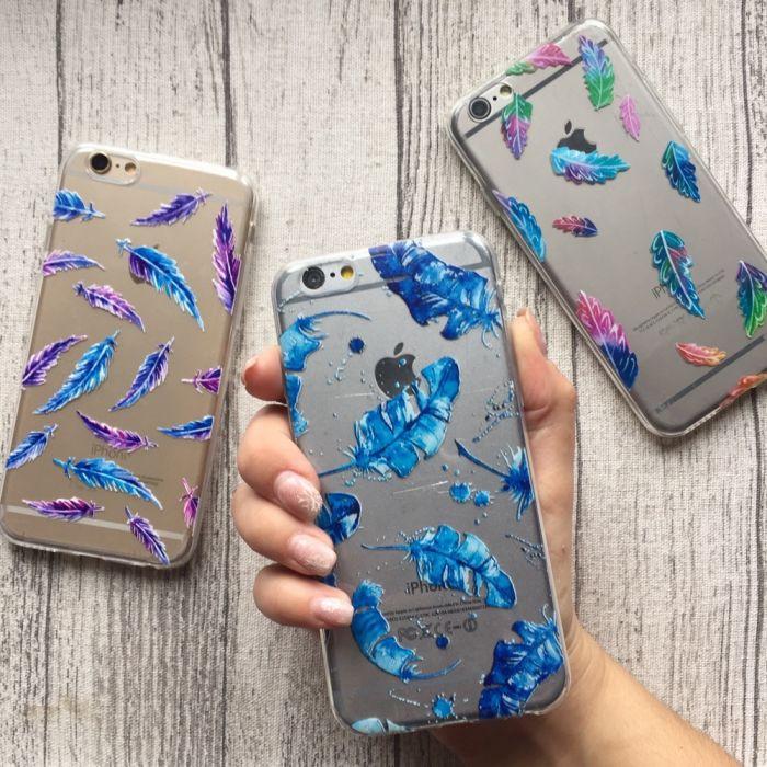 Силиконовый чехол с перьями для Iphone 6/6s