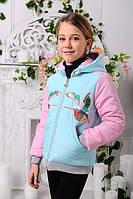 Демисезонная короткая курточка для девочки «Птицы» минт 128-146рр
