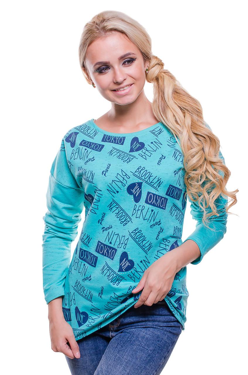 Женская футболка из трикотажной ткани меланж с принтом  светло -изумрудного