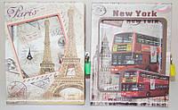 """Блокнот детский А-6 """"Лондон, Париж"""" 60 листов, навесной замок, картонный футляр, ассорти"""