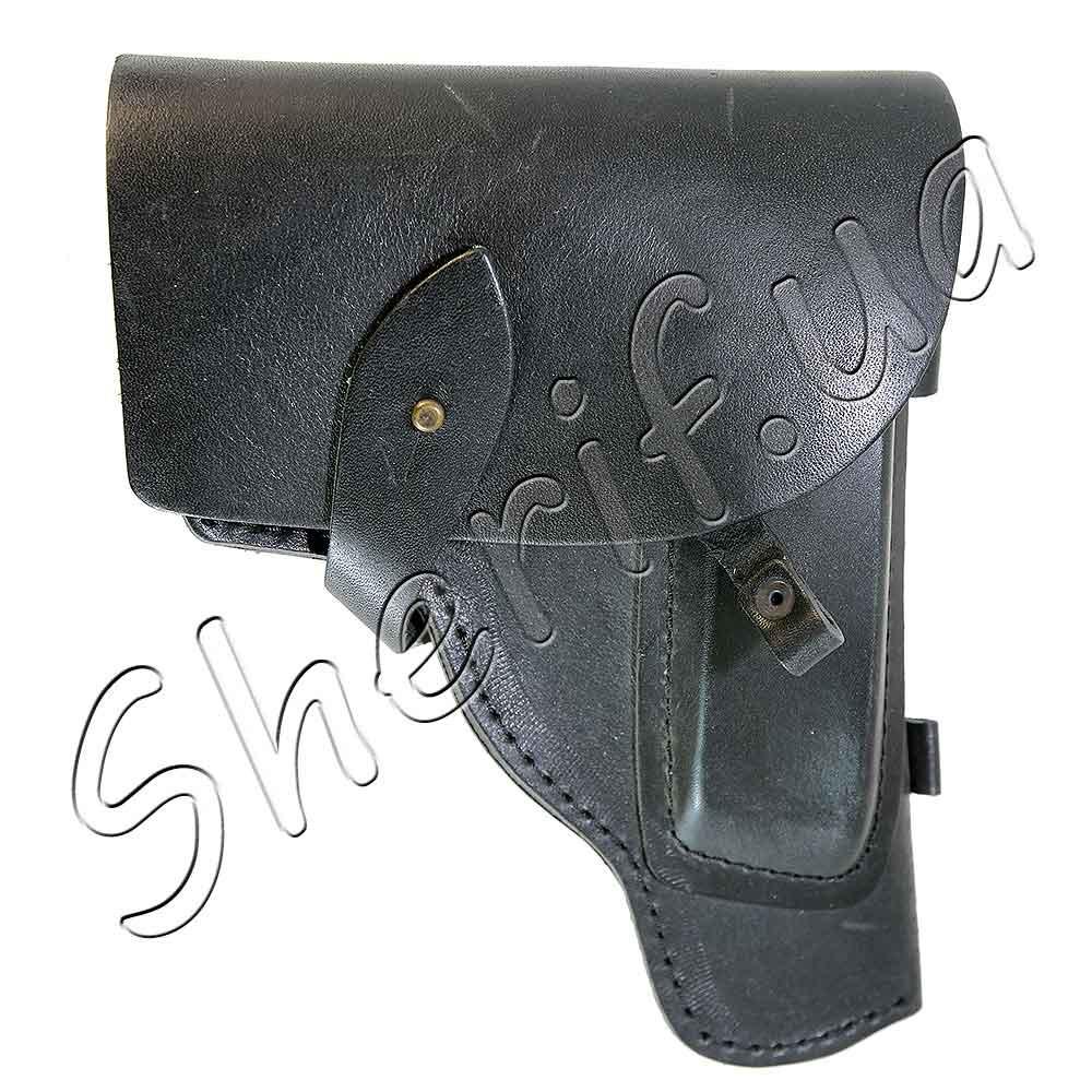 Кобура поясная закрытая для пистолета ПМ черная кожаная 6011
