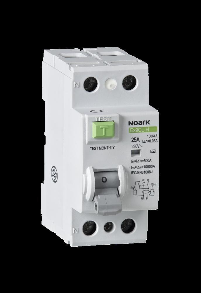 Диференційний вимикач, Icn=6kA, 4 полюси, In=25A, IΔn=30mA, тип AC