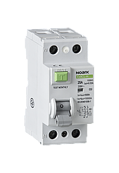 Диференційний вимикач, Icn=6kA, 2 полюси, In=25A, IΔn=30mA, тип AC
