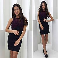 Стильное женское платье приталенное,ткань дайвинг+набивной гипюр,цвет марсала,беж,белый