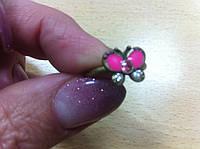 Распродажа Тоненькое колечко-бабочка с россыпью мелких камней