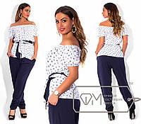 Костюм батал: блузка морского принта и штаны