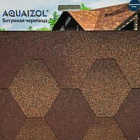 Битумная черепица Акваизол мозаика коричневая микс