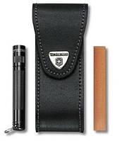 Чехол для ножей Victorinox кожаный черный 111 мм с боковыми отделениями для фонарика и точилки 4.0523.32