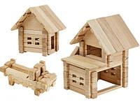 Деревянный конструктор для детей домик с гаражом (75 деталей Игротеко)