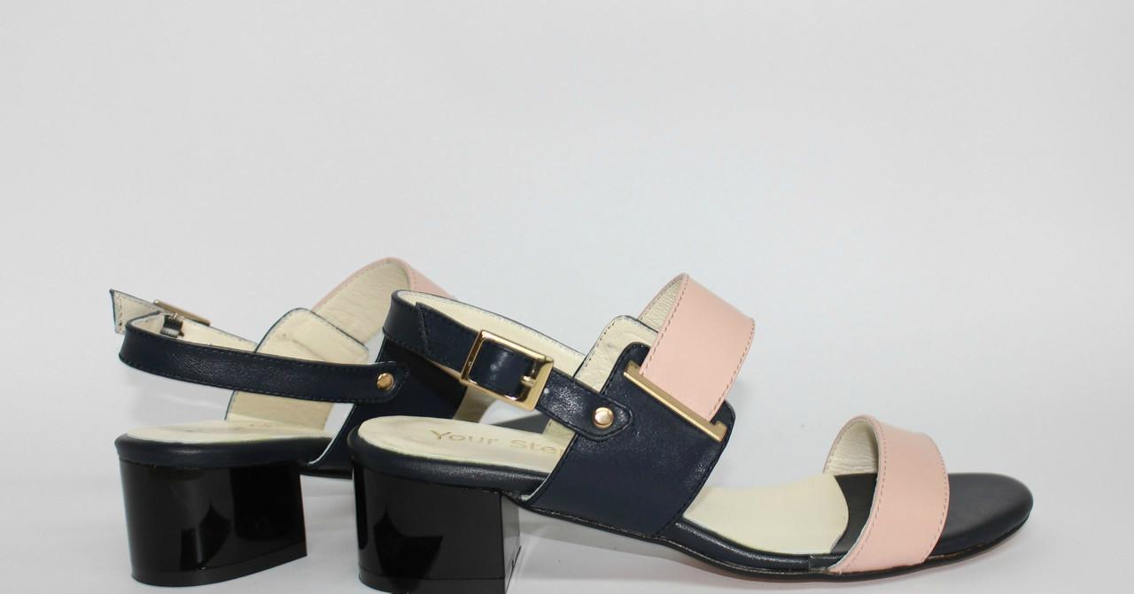 Женские босоножки на невысоком устойчивом  каблуке, натуральная кожа