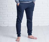 Мужские спортивные брюки на манжете 9123 темно-синие