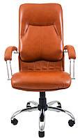 Кресло для руководителя Никосия хром Кожа-Люкс  комбинированная