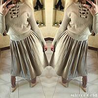 Стильная женская юбка-плиссе,ткань атлас,цвет шоколад,мокрый асфальт,лиловый,бежевый