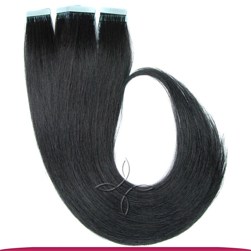 Натуральные Европейские Волосы на Лентах 50 см 100 грамм, Черный №01
