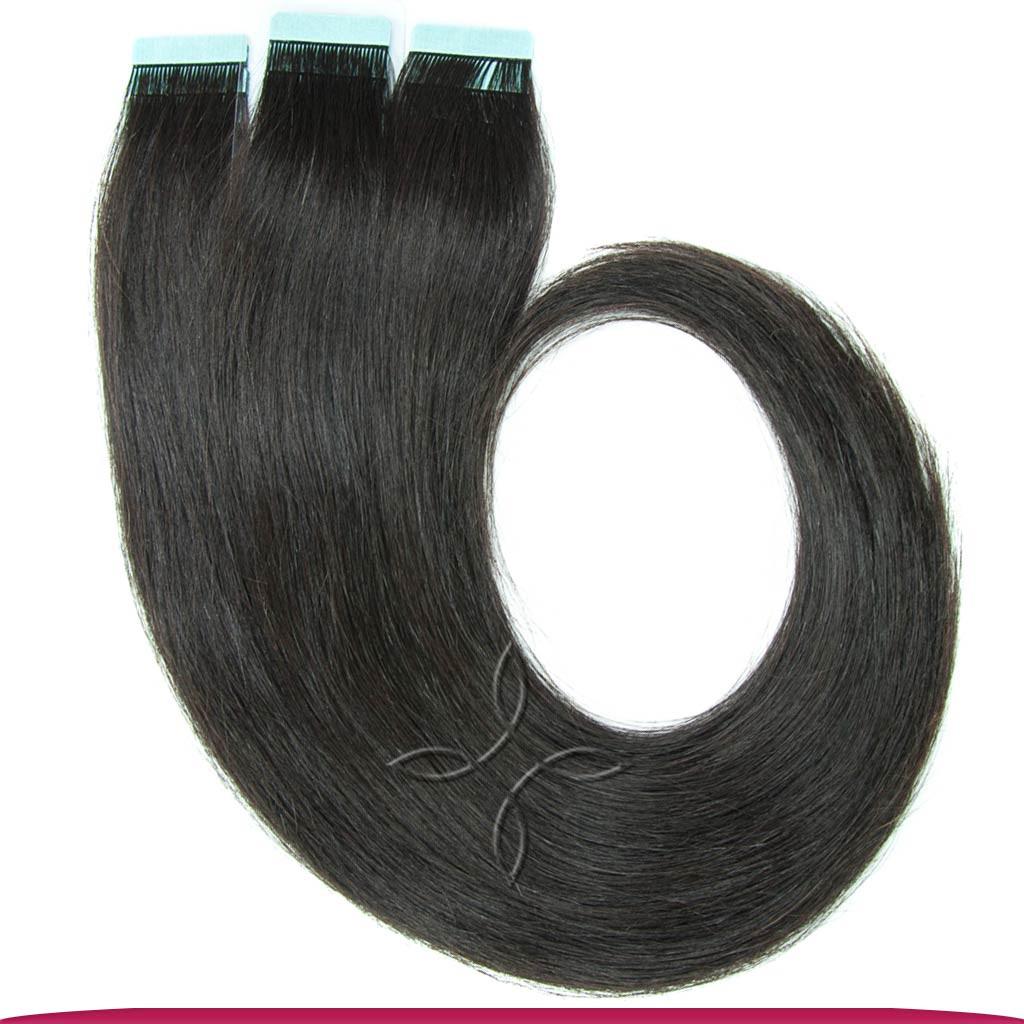 Натуральные Европейские Волосы на Лентах 50 см 100 грамм, Черный №1B