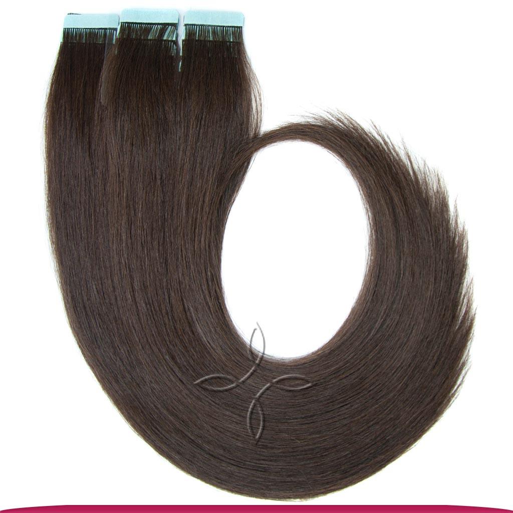 Натуральные Европейские Волосы на Лентах 50 см 100 грамм, Шоколад №02
