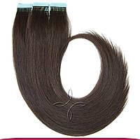Натуральные Волосы для Наращивания на Лентах Европейские 50 см 100 грамм, Горький шоколад №02
