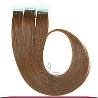 Натуральные Волосы для Наращивания на Лентах Европейские 50 см 100 грамм, Русый темный №06