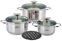 Набор посуды Bohmann BH-0104 три кастрюли и бакелитовая подставка
