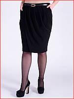 Классическая черная юбка-карандаш, свободного кроя. 44,46 размеры