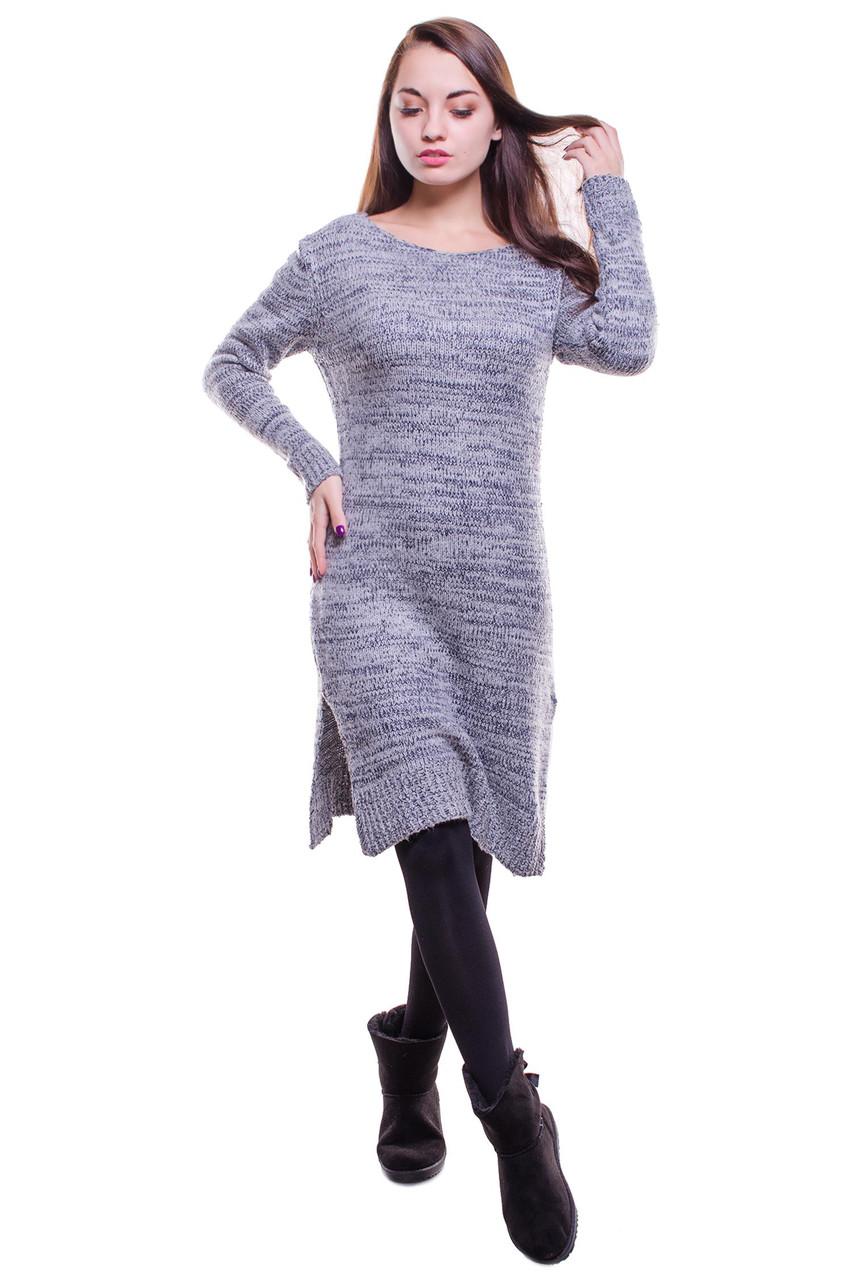 Женское платье из шерстяной ткани цвета  серого