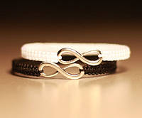 Парные браслеты оберег для влюбленных со знаком Бесконечность (белый и черный)