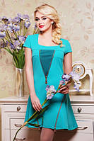 42,44,46,48,50размер Красивое платье Миланка бирюзовое голубое летнее короткое весеннее деловое батал нарядное
