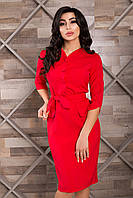 Яркое Облегающее Платье под Пояс Красное XS-2XL