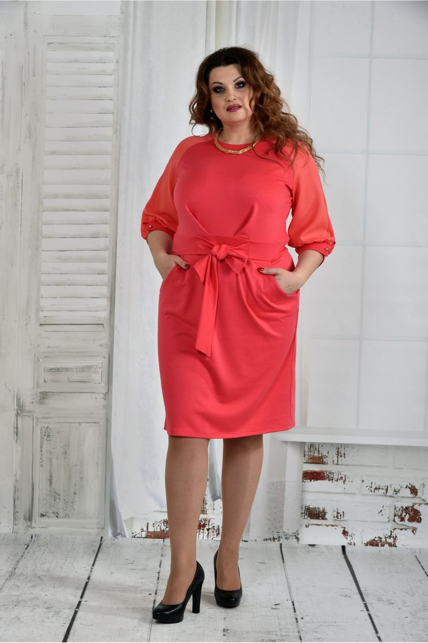 Женское нарядное платье платье 0403 цвет коралл размер 42-74 / батал