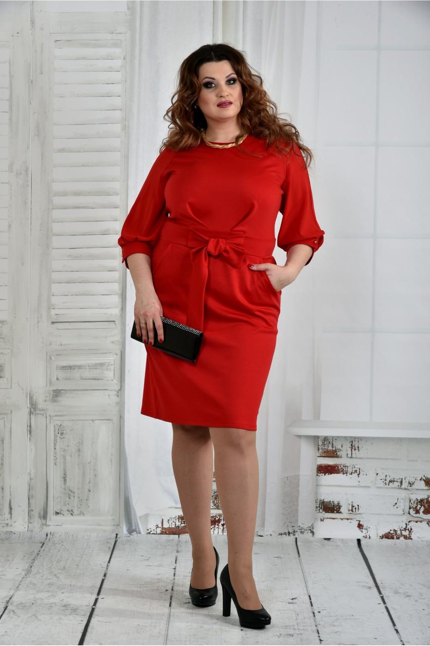 Женское нарядное платье платье 0403 цвет красный размер 42-74 / батал